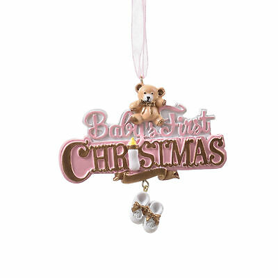 Infant's First Soft Pink 4 x 3 Resin Stone Holiday Decorative Hanging Ornament