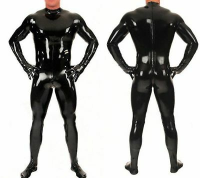Lange Latex Catsuit Rubber Gummi Bodysuit Wetlook Zipper Schwarz Uniform S-XXL