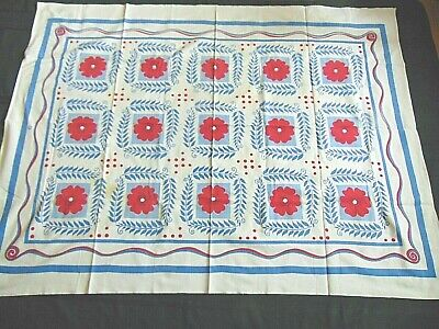 """VTG 1950's Bright  Abstract Flowers Print cotton Tablecloth 50"""" x 52"""" RED & BLUE"""