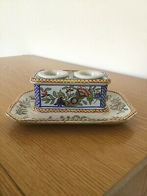 ANTIQUE FRENCH FAIENCE DOUBLE INKSTAND c1920