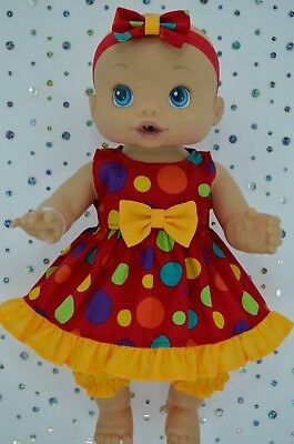 """Play n Wear Doll Clothes To Fit 13"""" Baby Alive DRESS~BLOOMERS~HEADBAND"""