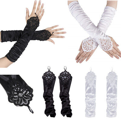 """38cm 15"""" Elbow Length Fingerless Satin Lace Gloves Wedding Bridal Prom Party New"""