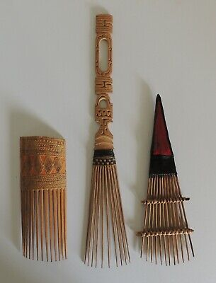 Png - Three Old Combs -Trobriand Isds And Solomon Isds.