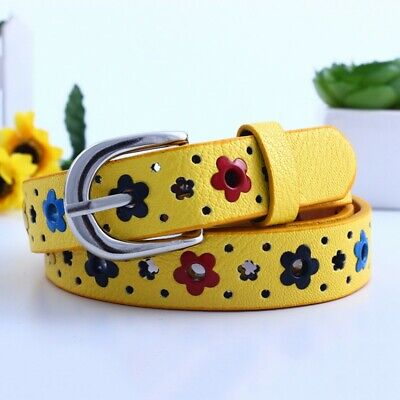 Baby Kids Girls Candy Color PU Leather Waistband Hollow Flower Print Buckle Belt