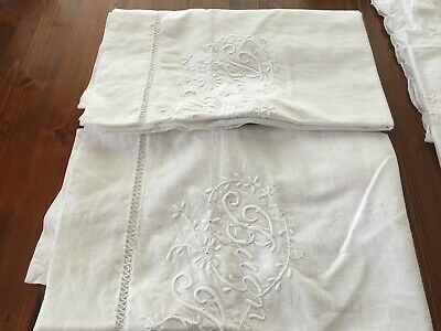 5 Antique Embroidered White Pillowcases And 1 Supper Cloth