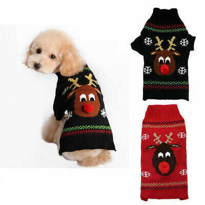 Small Large Christmas Dog Sweater Clothes Cute Knitted Jumper Apparel For Dog US