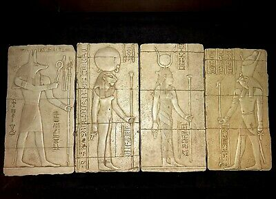 Set Of (4x) Egyptian Pantheon Wall Plaque Sekhmet Isis/Hathor Anubis Horus