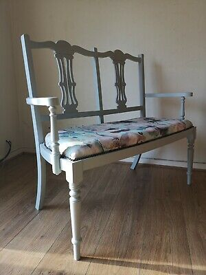 Edwardian Bench/love seat. Reupholstered in dove grey (poss del available)