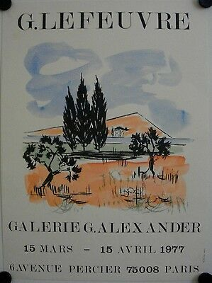 Affiche G. LEFEUVRE 1977 Exposition Galerie Alexander