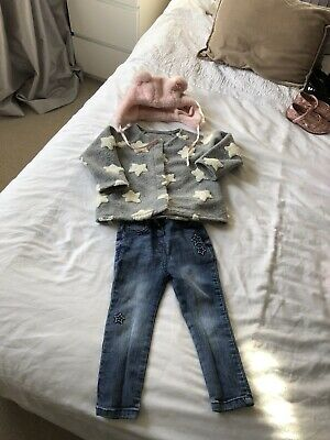 Matalan Girls Outfit Jacket, Jeans And Hat 18-24 Months 1-2 Yrs