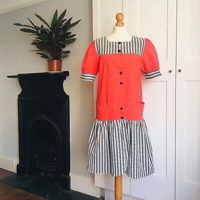Vintage 80s Red Black White Checked Print Puff Sleeve Cotton Blend Dress 12 14