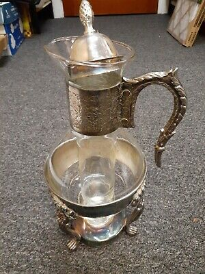Vintage Silver Plate and Glass Coffee Tea Pitcher with Footed Warmer Stand