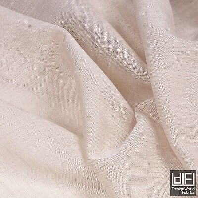 Designer Beige plain Linen Look Soft Voile Sheer Curtain Fabric 3m wide material