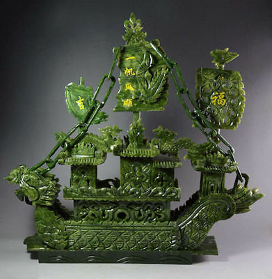 Chinese Large Hand Carved 100% Natural Jade Dragon Incense statue Dragon Boat