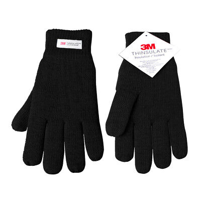 Mens Thinsulate 3M Thermal Gloves Fleece Lined Black one size