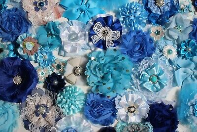 Shabby Chic Fabric Flowers Decor Crafts Embellishment Bundle x 50