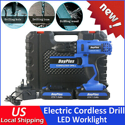 Cordless Drill Set Electric Screwdriver Power Driver Kit 21V Recharge Battery US