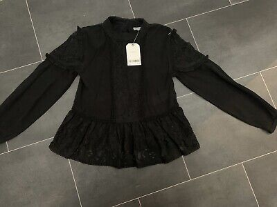 BNWT Girls NEXT Black Lace Blouse Top, Age 7 Years