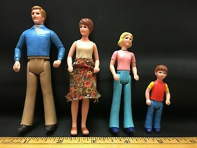 1960s Dollhouse Family Hard Plastic Rubber Body 1:12 Scale Four Pieces