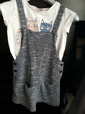 Next Girl's Pinafore Dress Set Aged 6 Yrs