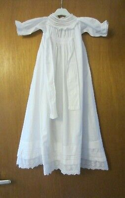 Vintage Christening Gown / Baby Gown White Cotton Lace Pin Tucks 31 inches