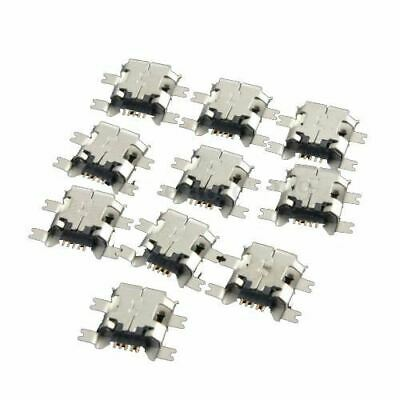 10Pcs Micro-USB Type B Female 5Pin Socket 4 Legs SMT SMD Soldering Connector H3T