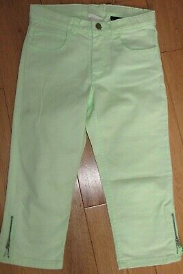 New-Girls Bright Lime Green Cropped Trousers. Age 11-12. H7M. Vgc.organic Cotton