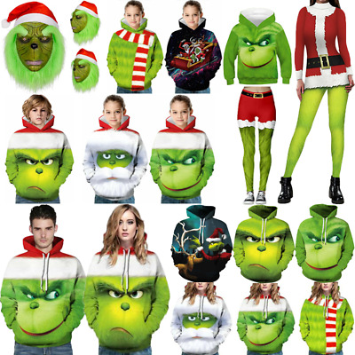 The Grinch Mask With Hat Jumper Hoodie Adult Kids Costume Cosplay Christmas Xmas