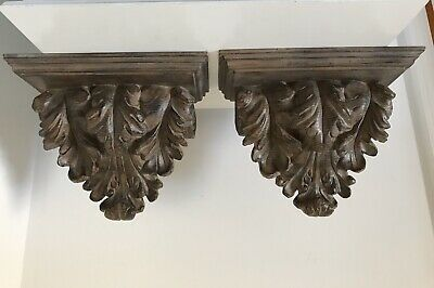 Vtg Pr Wall Shelves Sconces Acanthus Leaf Home Decor