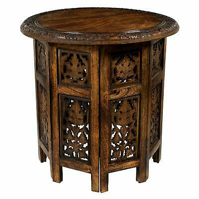 Round Top Antique able Solid Wood Hand Carved Accent Handcrafted Coffee Table
