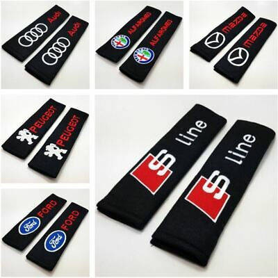 2x Car Logo Seat Belt Cover Pads Shoulder Xmas Christmas Gift For Him Her New