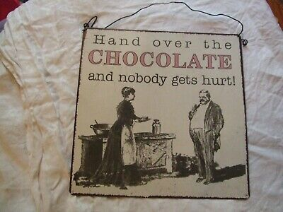 "Comic vintage-style metal sign ""Hand Over the Chocolate and Nobody Gets Hurt"""
