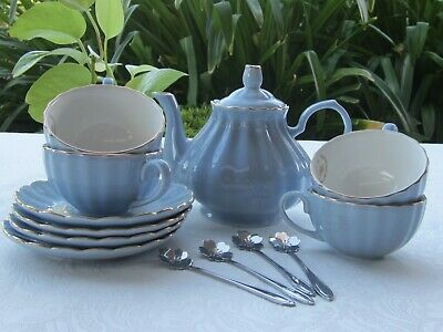 Cherry Blossom Tea Set with 10 Pieces -Blue -Teapot,4 X Cups,Saucers & Spoons