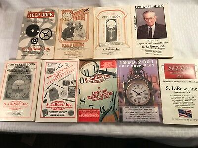 Lot of 9 KEEP BOOK CATALOGS  Antique Clock Parts Service  S. LaRose, Inc