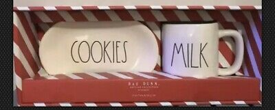 "Rae Dunn New ""COOKIES"" Plate And ""MILK"" Mug Boxed Christmas Set!"