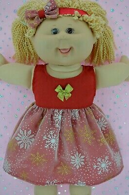 "PlaynWear Dolls Clothes For 16"" Cabbage Patch CHRISTMAS SNOWFLAKE DRESS~HEADBAND"