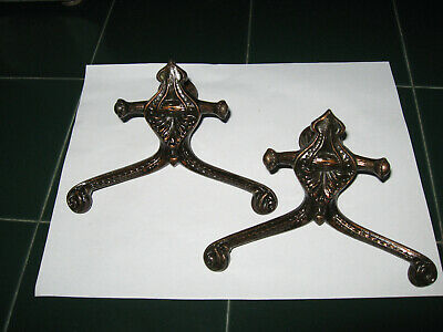 Vintage Ornate Coat Bath Robe Hooks Pair Cast Iron with Bronze Finish Pair