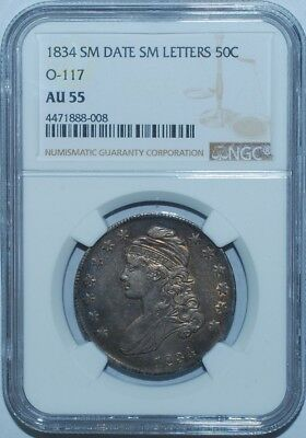 1834 NGC AU55 O-117 R.2 Small Date Small Letters Capped Bust Half Dollar
