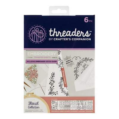 Crafters Companion Threaders Embroidery Transfer Sheets Floral Collection 8 inch
