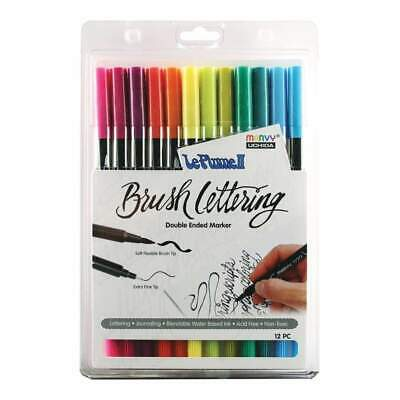 Le Plume II Double-Ended Brush Lettering Marker Set 12 pack Bright