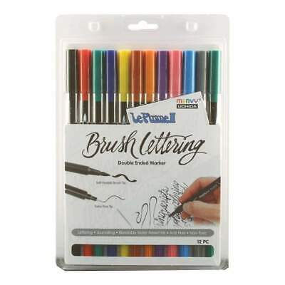 Le Plume II Double-Ended Brush Lettering Marker Set 12 pack Primary