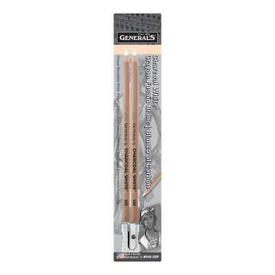 General Pencil - Charcoal White Pencils 2 pack 2B
