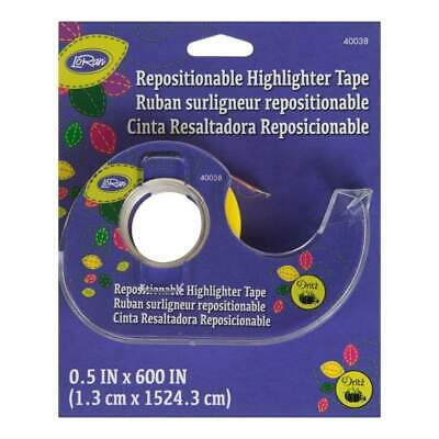LoRan Repositionable Highlighter Tape 0.5 inch x50' - Yellow