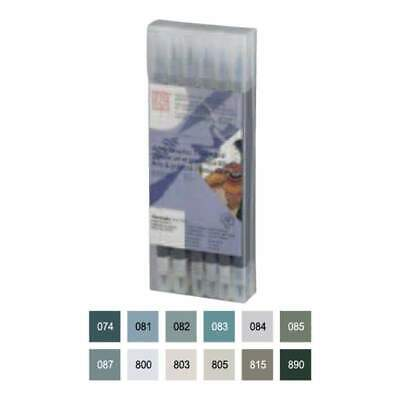Zig Art & Graphic Twin RB+F 12 pack Gray Colours