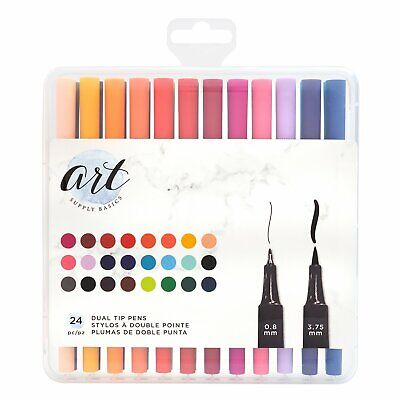 American Crafts - Art Supply Basics Collection - Dual Tip Pens - 24 Pieces