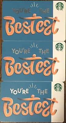 "Lot 3 Starbucks ""YOU'RE THE BESTEST"" Christmas 2019 Recycled Paper Gift Card set"