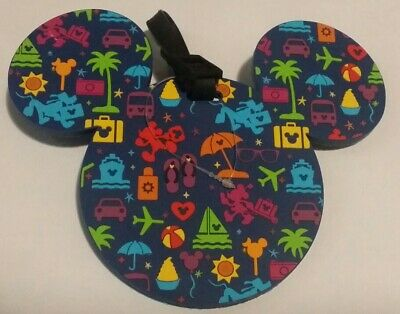 Disney Parks Large Blue Mickey Icon Luggage Tag Mickey Minnie Pluto Travel