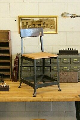 Vintage Industrial Steel Wood Machine Age Chair Stool Factory Green 1940s