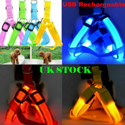 USB Rechargeable LED Pet Dog Harness Luminous Puppy Safety Collar Light Up UK