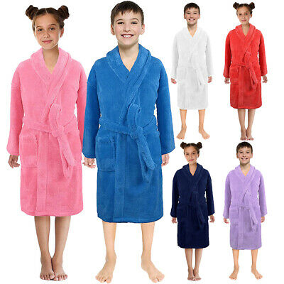 Toddler Boys Girls Winter Flannel Bathrobes Towel Night-Gown Pajamas Sleepwear